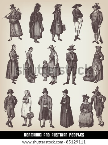 Engraving vintage Germanic and Austrian people set from
