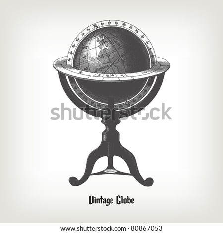 "Engraving vintage Globe from ""The Complete encyclopedia of illustrations"" containing the original illustrations of The iconographic encyclopedia of science, literature and art, 1851. Vector."