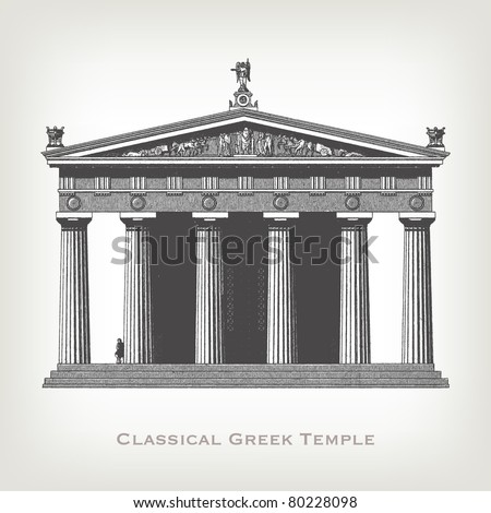 engraving vintage greek temple...
