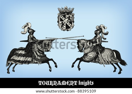 engraving vintage knights
