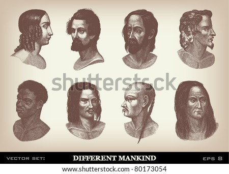 Engraving vintage Mankind set from 'The Complete encyclopedia of illustrations' containing the original illustrations of The iconographic encyclopedia of science, literature and art, 1851. Vector. Foto stock ©