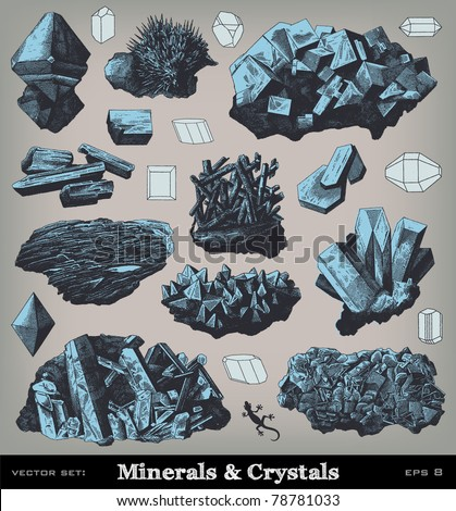 Engraving vintage Minerals and crystals illustrations from atlas published in 1851 (The iconographic encyclopedia of science, literature and art). Vector image. - stock vector