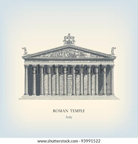 engraving vintage roman temple...
