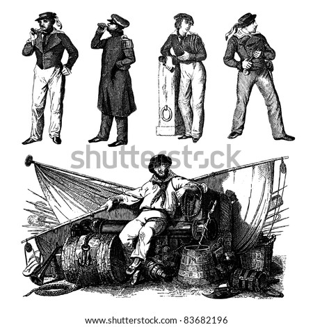"Engraving vintage sailor men set from ""The Complete encyclopedia of illustrations"" containing the illustrations of The iconographic encyclopedia of science, literature and art, 1851. Vector."