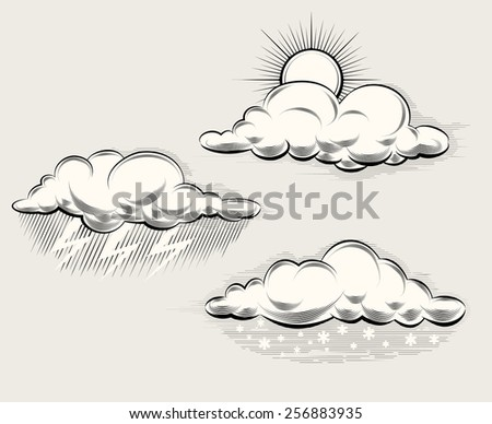 engraving weather sun behind a