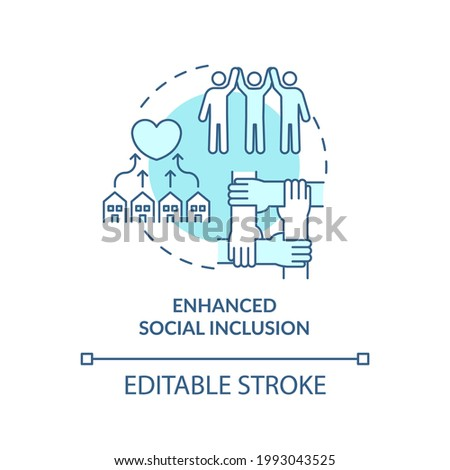 Enhanced social inclusion concept icon. Community development abstract idea thin line illustration. Connection with family, local community. Vector isolated outline color drawing. Editable stroke