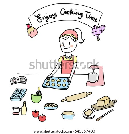 Enjoy cooking time concept with cute woman baking cookies. Several cooking tools are placed on table such as stand mixer, rolling pin, baking tray,  muffin tin, loaf tin, mixing bowl with whisk, etc.