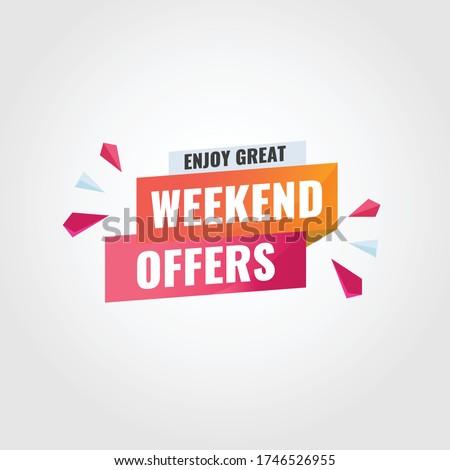 Enjoy great weekend offer banner template. Weekend offer banner vector. Weekend offer title template banner.