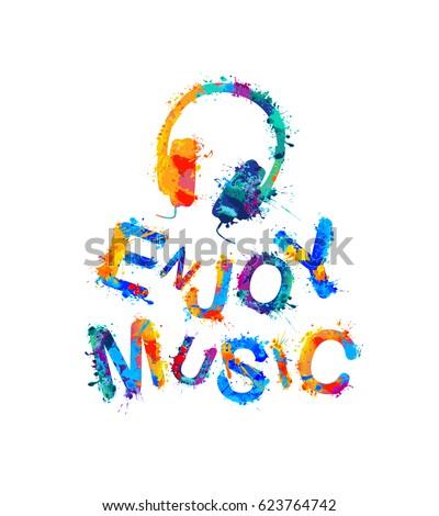 enjoy music vector watercolor