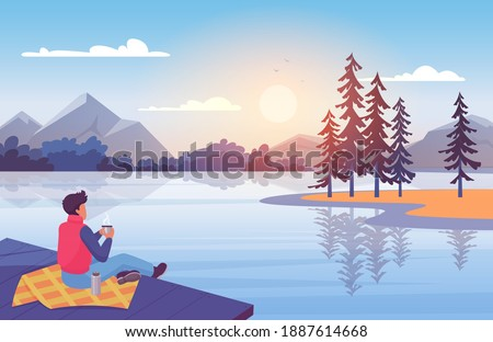 enjoy nature at sunset vector