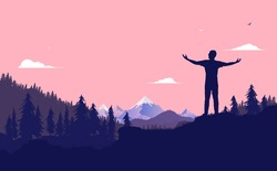 Enjoy nature - Man raising arms on a hill, taking in fresh air and looking at the beautiful view. Mountains and forest in background. Personal freedom, recreation and time of concept. Vector.