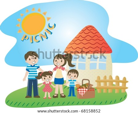 Enjoy Picnic and Happy Days background with blue sky and bright sunshine - smiling lovely people with sweet food for lunch in green field on summer vacation