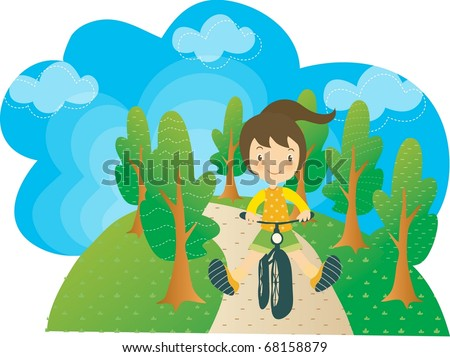 Enjoy Picnic and Happy Days background with blue sky and green plants - cycling smiling and lovely young girl with bike in natural park on spring vacation