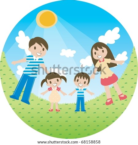 Enjoy Picnic and Happy Days background with blue sky and white cloud - smiling parents and young children with bright sunshine in green field on summer vacation