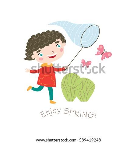 enjoy spring  greeting card in