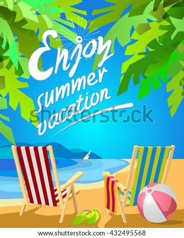 enjoy summer vacation lettering