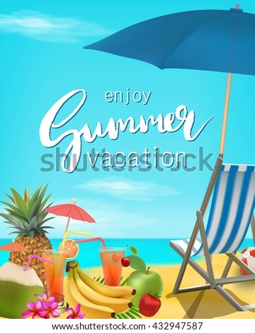 enjoy summer vacation vector