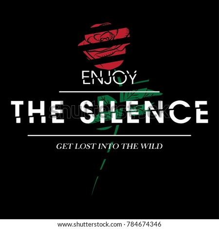 Enjoy The Silence Rock And Roll Slogan Fashion patch, badge Rose  Punk girl gang Mega babe, T-shirt apparels print tee graphic design. Vector stickers, pins, patches vintage rock style.