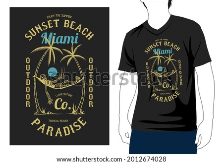 Enjoy the sunset beach Miami outdoor wooyoo I love nature co tropical heaven paradise t shirt design with man mock up Photo stock ©
