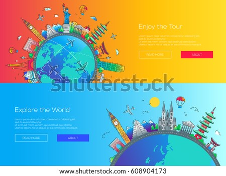 Enjoy the Tour, Explore the World - vector illustration of flat design web page travel banners set with famous landmarks icons and copy space
