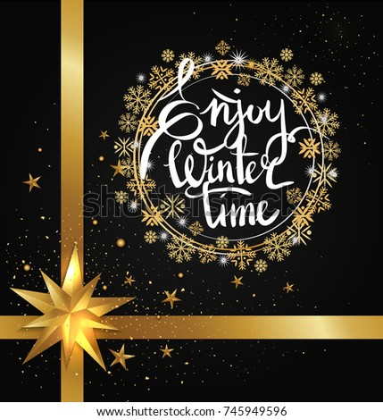 Enjoy winter time inscription written in frame made of golden and silver snowflakes vector on black with glittering elements, bow and ribbon decor