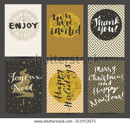 Enjoy, You Are Invited, Thank You, Joyeux Noel, Happy Holidays, Merry Christmas and Happy New Year! Set of 6 stylish trendy greeting cards. Modern calligraphy, lettering. Geometric background. Vector #351953075