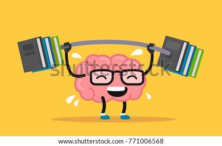 Enjoyable education brain cartoon training. Vector flat