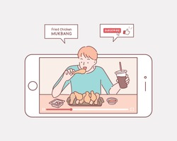 Enjoying food. Concept of video blogging. The guy is in his video blog on the phone screen.  Hand drawn style vector design illustrations.