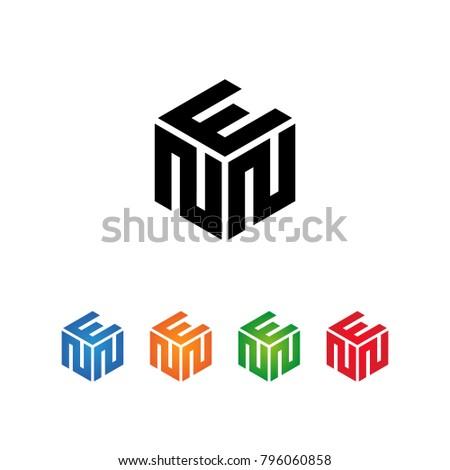 ENN,ENE,NNE Logo Initial three letters Template.Modern Style. Hexagon shape concept.Black,Blue,Orange,Green,Red color on white background Stock fotó ©