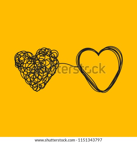 Entangled heart, coaching relationship, icon of psychologist, therapist, love and relationships. Vector illustration