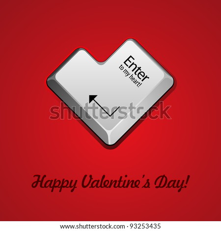 Enter Button Like Heart Valentine's Day Vector Background EPS10