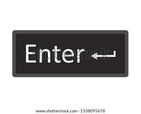 Enter computer key button on white background. flat style. ENTER button symbol. enter key sign.
