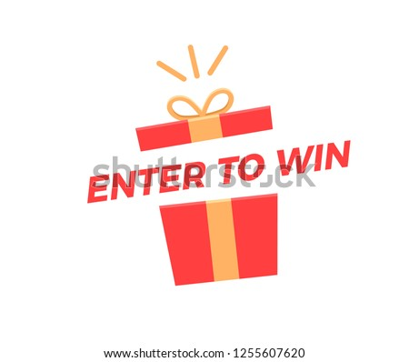 Enter to Win illustration with gift box opening with prizes. Vector graphic design background for social media, business, marketing, promotions