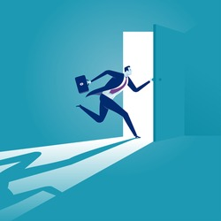 Entering. Businessman opening the door. Concept business vector illustration