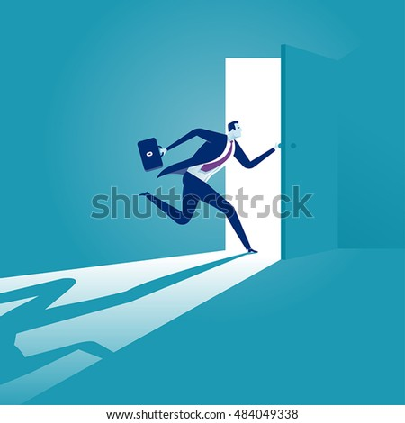 Entering. Businessman opening the door. Concept business vector illustration