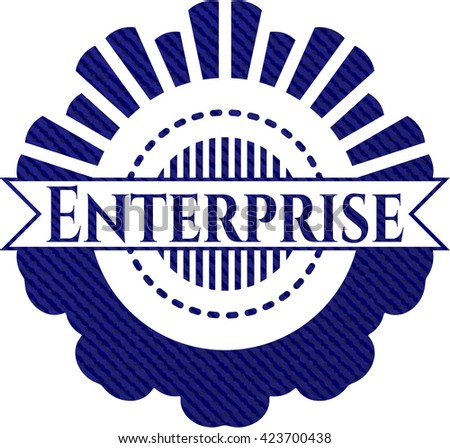 Enterprise badge with denim texture