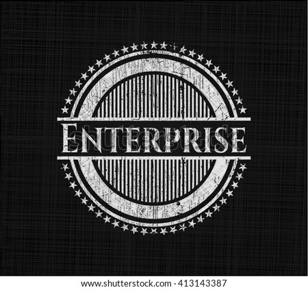 Enterprise chalk emblem written on a blackboard