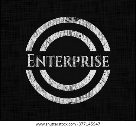 Enterprise chalkboard emblem on black board
