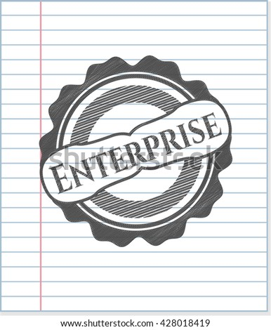 Enterprise emblem with pencil effect