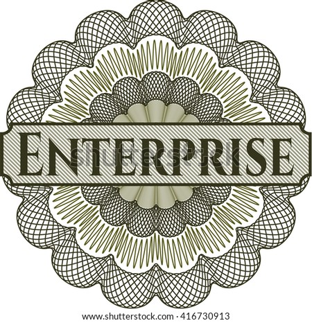 Enterprise inside money style emblem or rosette