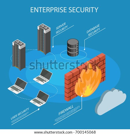 Enterprise Isometric Internet security firewall protection information Stock photo ©