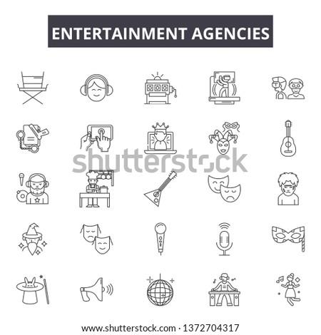Entertaiment agencies line icons, signs, vector set, outline illustration concept