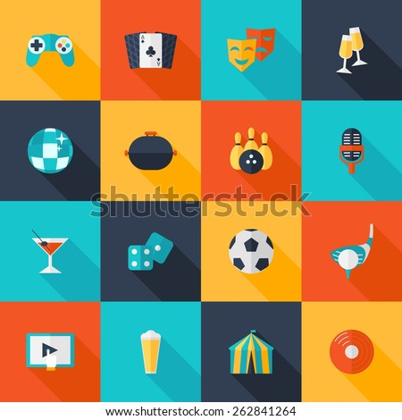 Entertaining icons flat set with dice cocktail glass party ball isolated vector illustration