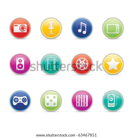 Entertainment and Multimedia icon set 7 - Colored Buttons Series.  Vector EPS 8 format, easy to edit.