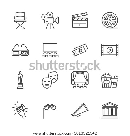Entertainment and performance line vector icons. Theater and cinema outline symbols. Cinema and performance entertainment, movie film and show illustration - Shutterstock ID 1018321342