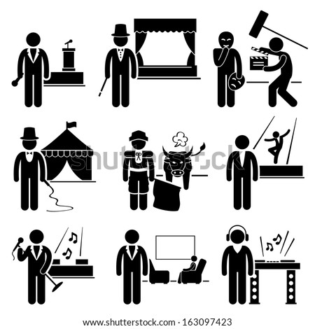 Entertainment Artist Jobs Occupations Careers - Emcee, Magician, Actor, Circus, Matador, Dancer, Singer, Talk Host, Deejay - Stick Figure Pictogram