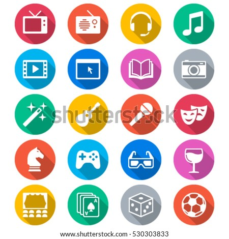 Entertainment flat color icons