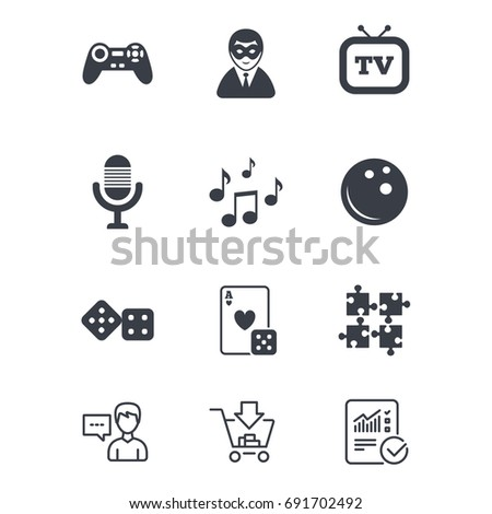 Entertainment icons. Game, bowling and puzzle signs. Casino, carnival and musical note symbols. Customer service, Shopping cart and Report line signs. Online shopping and Statistics. Vector