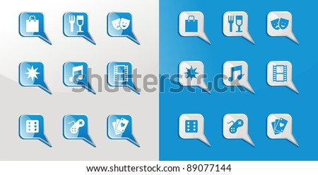 Entertainment icons glossy set over light and dark background. Vector file available