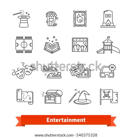 Entertainment industry thin line art icons set. Cinema, theme park, gallery, amusement events. Linear style symbols isolated on white.